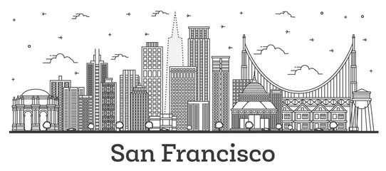 Outline San Francisco California City Skyline with Modern Buildings Isolated on White.