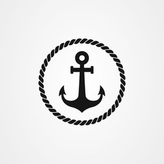 Anchor and rope icon logo design. vector illustration