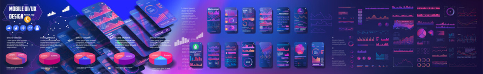 Mobile screens UI, UX, GUI with big set of graphical user interfaces for mobile applications. Flat web icons for mobile apps. Schemes and diagrams for mobile applications