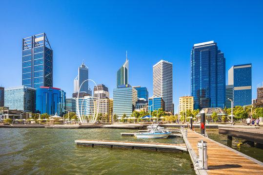 skyline of perth in western australia