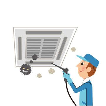 天井のエアコンを掃除する業