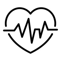 Heart rate icon. Outline heart rate vector icon for web design isolated on white background