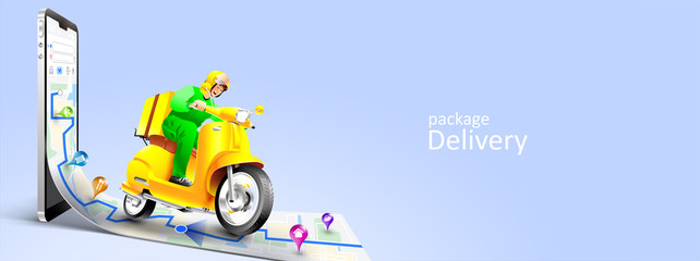 Fast delivery package by scooter on mobile phone. Order package in E-commerce by app. Tracking courier by map application. Three dimensional concept. Vector illustration Fototapete