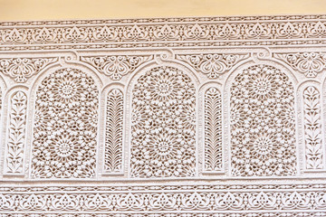 Carved decorative walls in oriental style in the city of Fes, Morocco.
