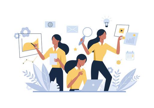Multitasking businesswoman, female office worker flat vector illustration