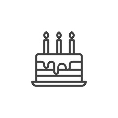 Cake on stand tray line icon. linear style sign for mobile concept and web design. Birthday cake with three candles outline vector icon. Symbol, logo illustration. Vector graphics