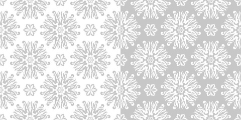 Floral seamless backgrounds. Gray and white compilation
