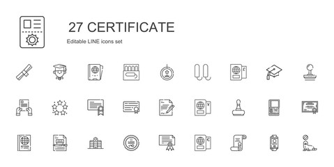 certificate icons set