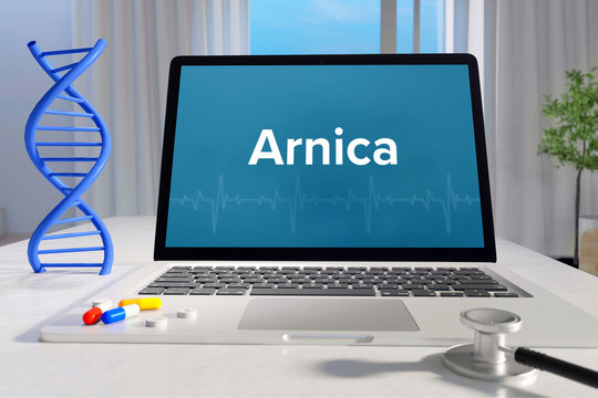 Arnica – Medicine/health. Computer in the office with term on the screen. Science/healthcare