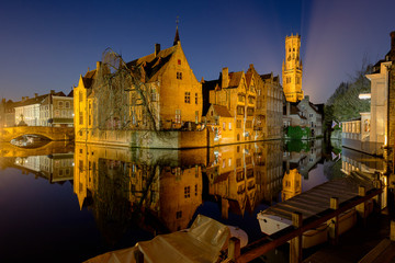 Wall Murals Bridges Bruges rozenhoedkaai during the blue hour - Belgium