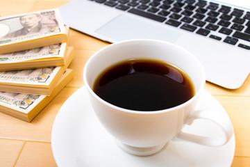 珈琲と日本の札束