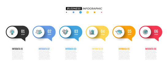 Vector infographic design template.  Timeline with 6 option. Can be used for workflow diagram, annual report, web design, business template for presentation.