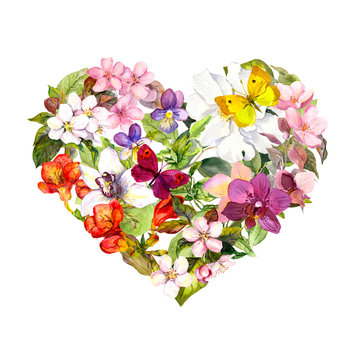 Floral heart with meadow flowers, summer butterflies and leaves. Watercolor