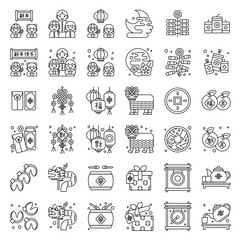 Chinese New year related icon set, line style