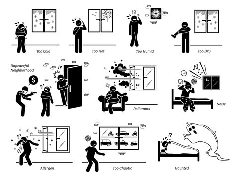 House home environment problems and surrounding issues. Vector illustrations depict people facing problems with the climate conditions and surrounding neighborhood environment.