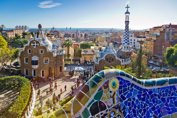 Papiers peints Barcelone Guell park, Barcelona, Catalania, Spain. Protected by UNESCO