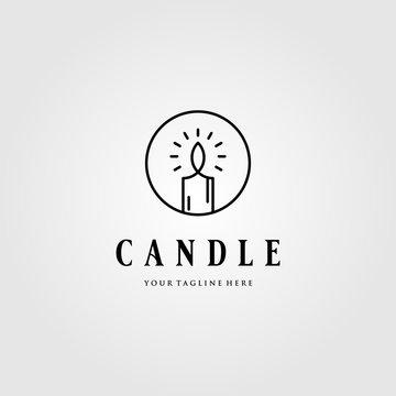 line art Candle Light Flame logo in circle vector emblem Design Illustration