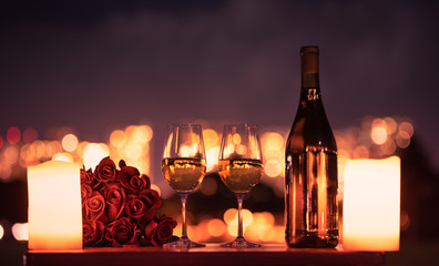 Romantic candle light dinner.