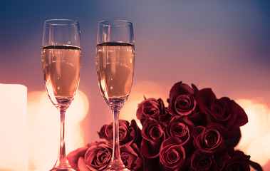 Canvas Prints Roses Valentine's Day, and romantic date night concept. Champagne and roses.