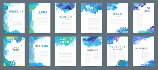 Fotobehang - Big set of bright vector blue watercolor background templates for poster, brochure or flyer