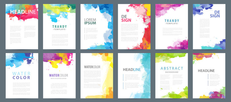 Big set of A4 bright vector colorful watercolor background templates for poster, brochure or flyer
