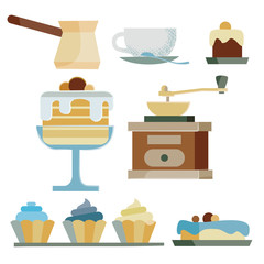 set of items and food for a stylish cafe consists of nine items, made in brown tones,