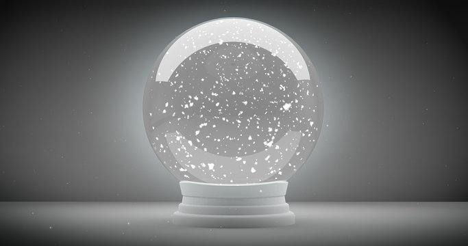 Empty Snow globe with snow inside background