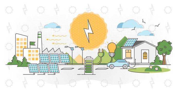Solar power vector illustration. Alternative light energy outline concept.