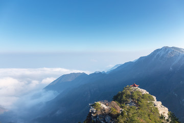 lushan mountain landscape in early winter