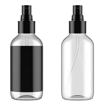 Mockup. One transparent spray bottle with black label. One transparent empty spray bottle mockup. 3D Render. 3D Renderleme.
