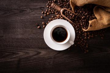 Wall Murals Cafe ホットコーヒーとコーヒー豆