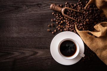 Poster Cafe ホットコーヒーとコーヒー豆