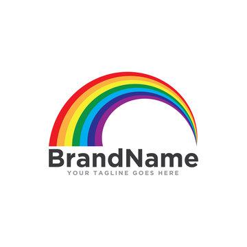 Rainbow logo icon vector. Beautiful rainbow logo template.