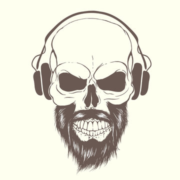 skull with beard and headphones