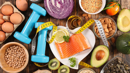 Fond de hotte en verre imprimé Pays d Asie health food assortment-healthy lifestyle with salmon, egg, fruit and vegetable
