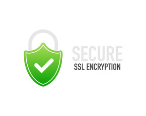 Secure connection icon vector illustration isolated on white background, flat style secured ssl shield symbols, protected safe data encryption technology, https certificate privacy sign.