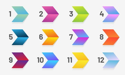 Set of stylize arrow bullet point with number from 1 to 12. Modern vector illustration.