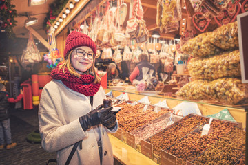 young woman on the Christmas Market of Coburg