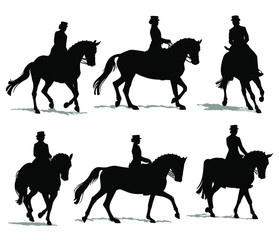 Dressage Horse and Rider Silhouette Set Isolated