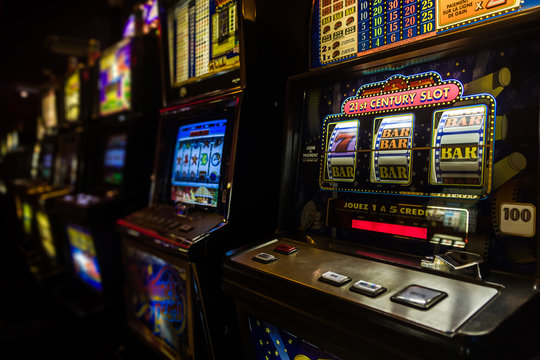 Slot machines in the casino of a luxury hotel of Antsiranana, Madagascar on November 20, 2018