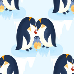 Happy valentine day vector textured animal seamless pattern in a flat style. Romantic illustration. Penguin family take care of a baby.
