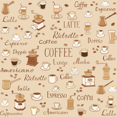Coffee seamless pattern. Drawings of cups, coffee grinders and inscriptions. The inscription latte, espresso, ristretto and americano. Decoration for wrappers, menus, wallpapers and kitchen