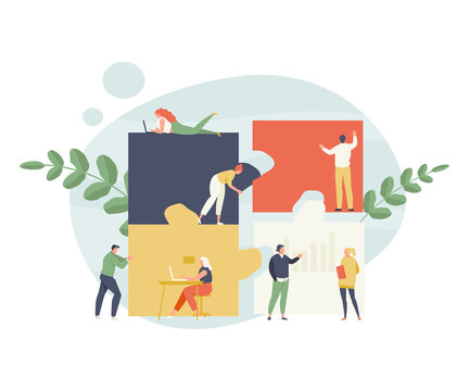 Group of business people adds puzzle. Teamwork and collaboration vector illustration