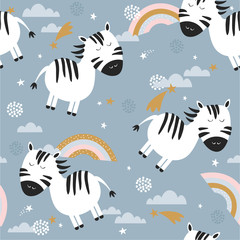 Door stickers Bestsellers Kids Colorful seamless pattern with zebras, rainbow, stars. Decorative cute wallpaper, good for printing. Overlapping colored background vector. Design illustration with animals, sky