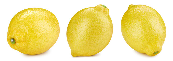 Lemon collection isolated on white background. Lemon fruit Clipping Path.