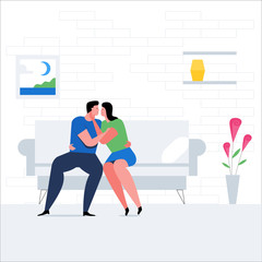 Romantic couple concept. Man and woman kiss on the couch. Romantic date cartoon banner. Flat Vector Illustration