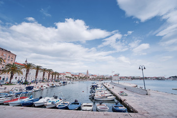 Photo sur Toile San Francisco Travel by Croatia. Beautiful landscape with Split Old Town on sea shore.