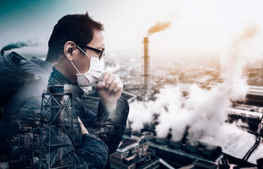 man wearing mask against smog  and  air pollution factory background Fotobehang