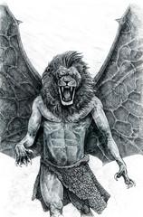 Mythical lion illustration. Half human - half lion. Lion roaring. Fantasy monster drawing.