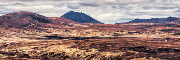 Morven and Maiden Pap looking across Sutherland from Glen Loth